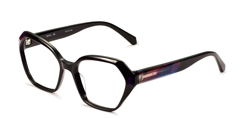 Black pentagonal frame, chunky, iridescence on arms. Available from Chichester opticians, North.