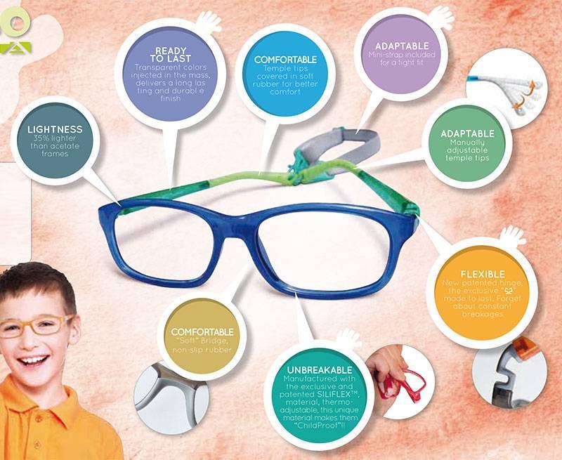 Blue Nano kid's glasses with descriptive text