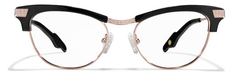 Rusicka by Vinyl Factory cat eye glasses black and rose gold
